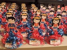 $7.00 each Superman and Wonder Woman Party favors with Candy. We require a minimum order of 8 for these cuties. We also have every other Super Hero character available.
