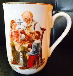 """Norman Rockwell Museum Porcelain Coffee Mug """"The Toymaker"""" 1982 w/ Gold Gild"""