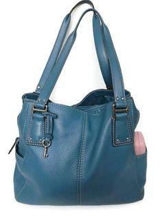 FOSSIL Blue Large Leather Shoulder Bag Vintage Tote Travel Shoulder Bag by GenesisVintageShop on Etsy