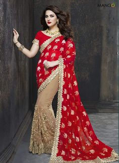595d3e9d430d3 Stylish Red And Beige Georgette Embroidered Replica Casual Saree