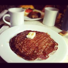 The perfect gray morning meal? Our buckwheat pancakes and a hot cup of illy coffee.