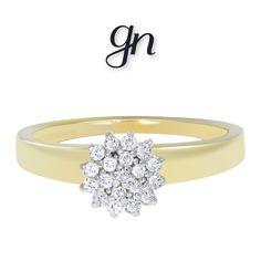 Elegante Anillo de Roseta. Oro Amarillo de 14k y .19ct de Diamante Natural. Engagement Rings, Jewelry, Fashion, Natural Diamonds, White Gold, Wedding Rings, Branding, Yellow, Chic