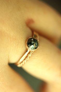 Deep Blue Rose Cut Diamond 14K Rose Gold by louisagallery on Etsy