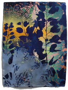 "Transient Seedlings by Devon Tsuno, 30 x 23"" acrylic and spray paint on paper - layered stencil work - part of his Horticulture series - Tsuno's new abstract paintings focus on non-native vegetation and bodies of water that exist as urban oasis."