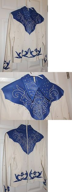 Western Show Shirts 183370: Ladies Western Show Shirt 1849 Ranchwear Creme With Royal Blue And Bling Size L -> BUY IT NOW ONLY: $40 on eBay!