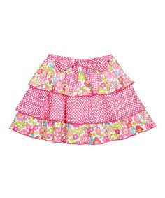 Take a look at the Pink Floral & Polka Dot Layered Skirt - Toddler & Girls on #zulily today!