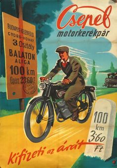Retro Advertising, Vintage Advertisements, Vintage Ads, Bike Poster, Motorcycle Posters, Budapest, Restaurant Pictures, Vintage Cycles, Old Ads