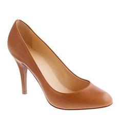 Cognac almond toe pumps