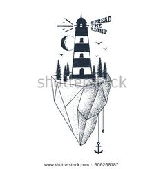 """Hand drawn inspirational badge with textured lighthouse vector illustration and """"Spread the light"""" lettering."""