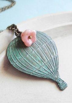 Hot Air Balloon Necklace Up Verdigris Charm