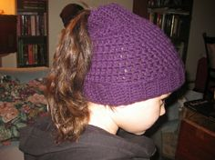 Hole In the Head Hat - any sized crochet ponytail hat pattern by Shannon Marisa