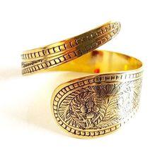 Tribal Engraved Brass Cuff, Ethnic Jewelry, Indian Jewelry, Gypsy Jewelry, Bohemian Armlet, Boho Bracelet by YemayaSoul on Etsy https://www.etsy.com/listing/240217567/tribal-engraved-brass-cuff-ethnic
