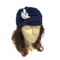A personal favourite from my Etsy shop https://www.etsy.com/hk-en/listing/201598754/ladies-turban-hat-in-navy-blue-head-wrap