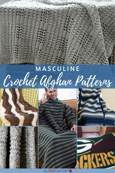 16 Free Masculine Crochet Afghan Patterns: These manly crochet afghan patterns feature neutral colors and subtle patterns for the guy in your life. Crochet Men, All Free Crochet, Crochet Patterns For Beginners, Crochet Patterns Amigurumi, Crochet Ideas, Crochet Projects, Crochet Throw Pattern, Baby Patterns, Free Pattern