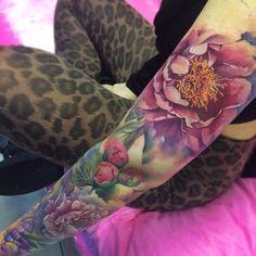 """Realistic peony flowers tattoo on girl left full sleeve"""" - к Tattoo Girls, Girl Tattoos, Tattoos For Women, Tattoo Bunt, 1 Tattoo, Piercing Tattoo, Cover Up Tattoos, Leg Tattoos, Body Art Tattoos"""