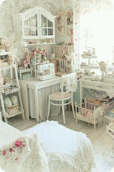 Omg! A wonderfully shabby sewing room.; It really is a sweet looking space to create in, maybe something this girly my husband wouldn't rearrange anything LOL, ~RP~