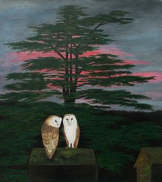"Contemporary Painting - ""Barn Owls"" (Original Art from Robert Harris)"