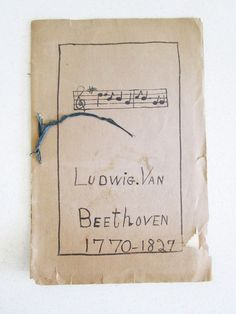 Early 1900's School Report on Beethoven W/ Perry Pictures Boston Pictures Music