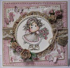Rebecca's Cards: Tilda Hiding Rose Bouquet