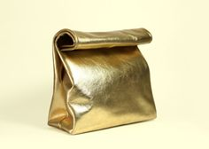 """Handmade Leather Lunch Bag """"Claude Oro"""", Women Lunchbag, Adult Lunch Bag, Small Gold Clutch, Leather Purse for Christmas"""