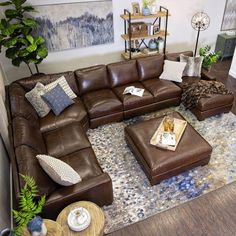 60 modern home interior designs for living room 31 Living Room Sectional, Home Living Room, Living Room Designs, Italian Living Room, Brown Leather Couch Living Room, Brown Living Room Furniture, Brown Leather Couches, Grey And Brown Living Room, Leather Sectional Sofas