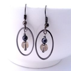 Smokey Glass Bead Earrings The Magician's by goldenapplejewelry - StyleSays