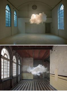 Berndnaut Smilde - Cloud Creations. A precise combination of temperature and humidity plus a fog machine allows Smilde to create the cloud with only a small window in which to photograph it.