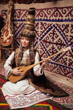 Kazakh girl with dombyra