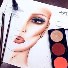 Makeup artist art face charts ideas for 2019 Mac Makeup, Makeup Kit, Makeup Inspo, Makeup Inspiration, Mac Face Charts, Makeup Face Charts, Too Faced, Makeup Obsession, Makeup For Beginners