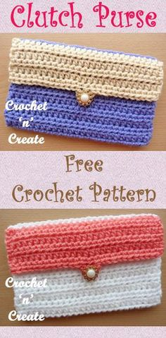 Free crochet pattern for a clutch purse, make different color flaps to match your outfit. #crochet