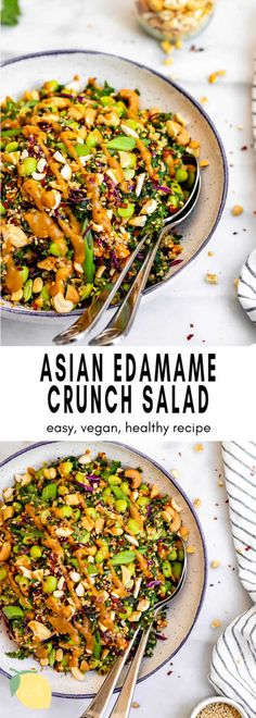 Asian Inspired Edamame Peanut Crunch Salad - Eat With Clarity