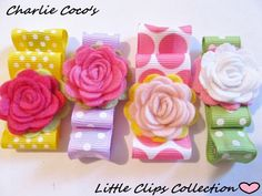 Girls Felt Flower Hair Clips Felt Flower Bows by CharlieCocos