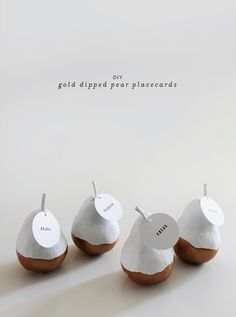 DIY gold dipped pear place cards.