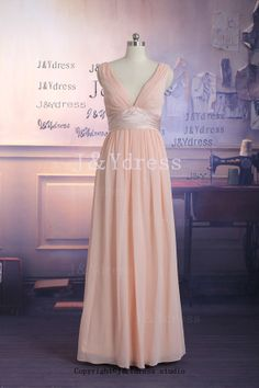 Deep Vneck Vback Straps Floor Length Chiffon Bridesmaid by JYdress, $129.00