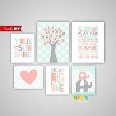 Girl Nursery Art Coral, Peach, Mint, Tree, Elephants, Heart, Playroom rules, You…