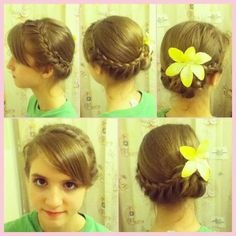 Small French braids on both sides of the head down to the ears; continue with a lace braid only adding hairs to the bottom strand until you reach the place for your bun and braid the ends normally; put the remaining hair into a ponytail, braid it, and pin it into a bun; drape the first two braids over the top of the bun and pin them into place. [I created this hairstyle on my sister for Easter service.]