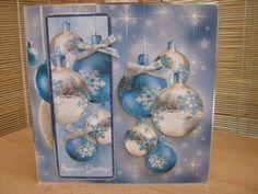 Handmade Christmas Card - Blue Bauble   Kibbs Cards MISI Handmade Shop