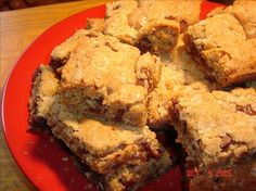 Davy Crockett Bars from Food.com:   Easy to make but very, very good and extremely popular with kids and teens. An old standby around here that is worthy of its reputation. (And yes, they do contain 1 cup of oil)