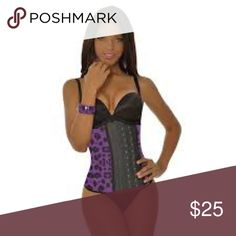 """Ann Michell 2024 Purple Animal Sport Trainer Large Waist train and look good while doing it in this Ann Michell 3 Hook Print Waist Trainer. Wear this waist trainer under your clothes to give you that beautiful """"curve"""" in your midsection.  Authentic Colombian Faja. Ann Michell Intimates & Sleepwear Shapewear"""
