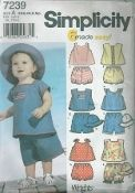 """An undated Simplicity Pattern 7239.  Babies' tops, panties and hat…Hat in three sizes S (17""""), M (18""""), L(19"""")."""