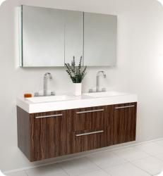 @Overstock.com - Fresca Opulento Walnut Double-sink Bathroom Vanity with Medicine Cabinet - A warm walnut finish highlights this Fresca Opulento modern bathroom vanity. This vanity includes a medicine cabinet and chrome hardware.  http://www.overstock.com/Home-Garden/Fresca-Opulento-Walnut-Double-sink-Bathroom-Vanity-with-Medicine-Cabinet/5522850/product.html?CID=214117 $1,599.00