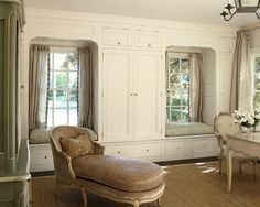 Traditional Bedroom Design - good use of extra closet space around the windows.