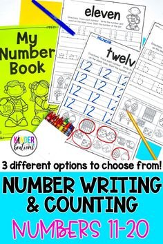 Number writing practice for numbers 11-20! These simple, no-prep worksheets come with 3 different versions to choose from. These trace and write number writing practice pages can be used whole-group, in a small group, independently, or as homework. There is also a special component at the bottom of each page for counting practice. Perfect for Kindergarten, Pre-K, TK, 1st grade, and homeschool.