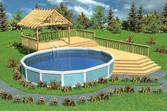 Plan No.185009 - The stair, railing and trellis plans are included as are three different sizes to fit around a 15', 18' or 24' wide pool. This plan is adaptable to any pool length.
