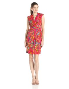 Sleeveless Gathered Waist Printed Dress by Ellen Tracy