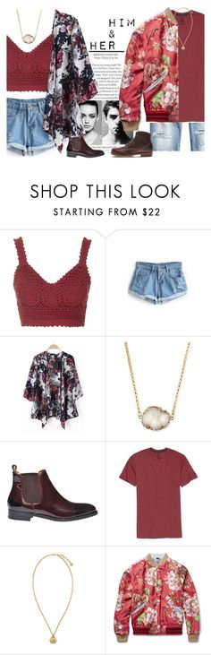 """""""Him&Her - contest"""" by mysecretismine ❤ liked on Polyvore featuring Topshop, Trowbridge, Jules Smith, Era Colorphilosophy, H&M, Volcom, Versace, Gucci, Wolverine and women's clothing"""
