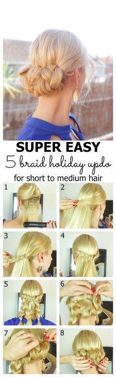 Easy 5 braid holiday updo for short to medium hair tutorial at https://hairsaffairs.com/easy-5-braid-holiday-updo-for-short-to-medium-hair/