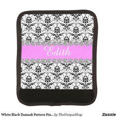 White Black Damask Pattern Pink Custom Name Handle Wrap