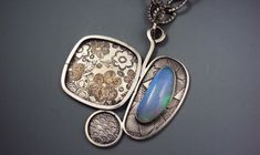 Long Patterned Silver Necklace with Opal