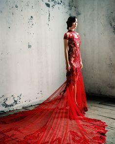 Modern deep red cheongsam with hand drawn baroque-inspired embroidery and train that goes on for days #qipao // East Meets West: Light and Airy Wedding Dresses from Cinobi with an Asian Touch {Facebook and Instagram: The Wedding Scoop}